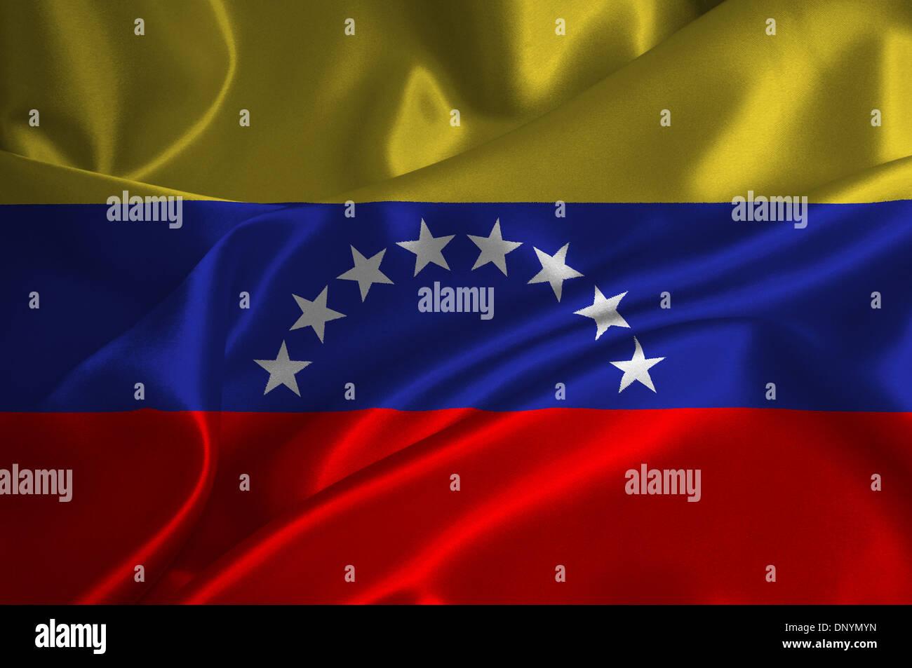 Venezuela flag on satin texture. - Stock Image