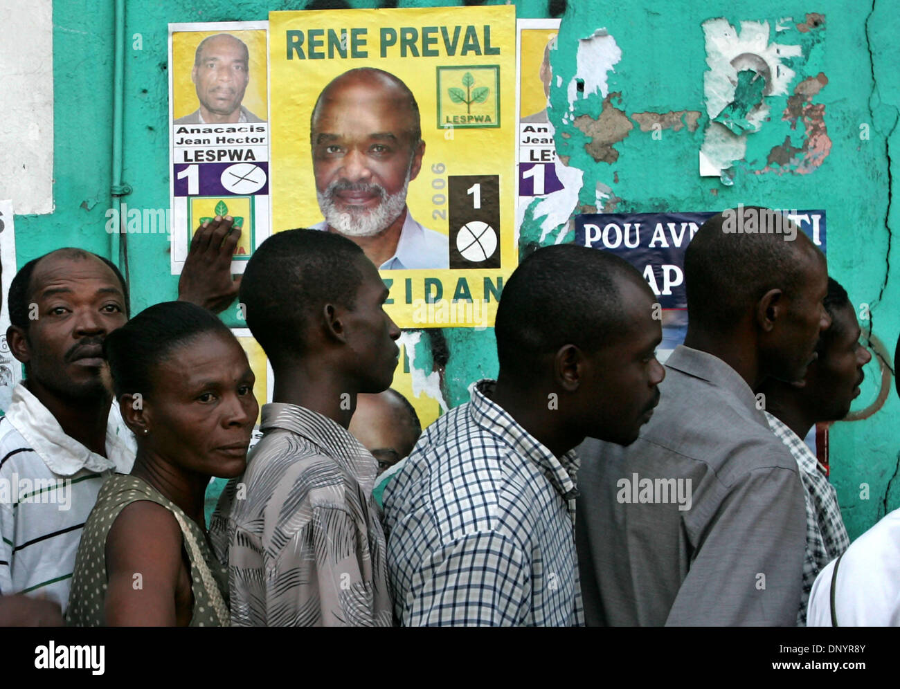 Election Day 2006 >> Feb 07 2006 Port Au Prince Haiti Voters Line Up Outside A Stock