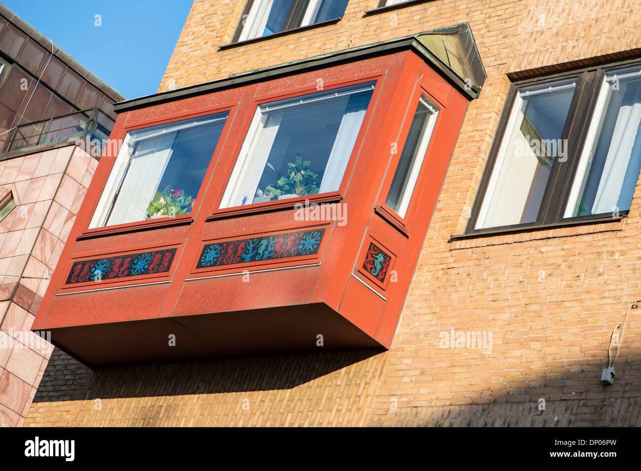 Enclosed balcony, Gothenberg - Stock Image