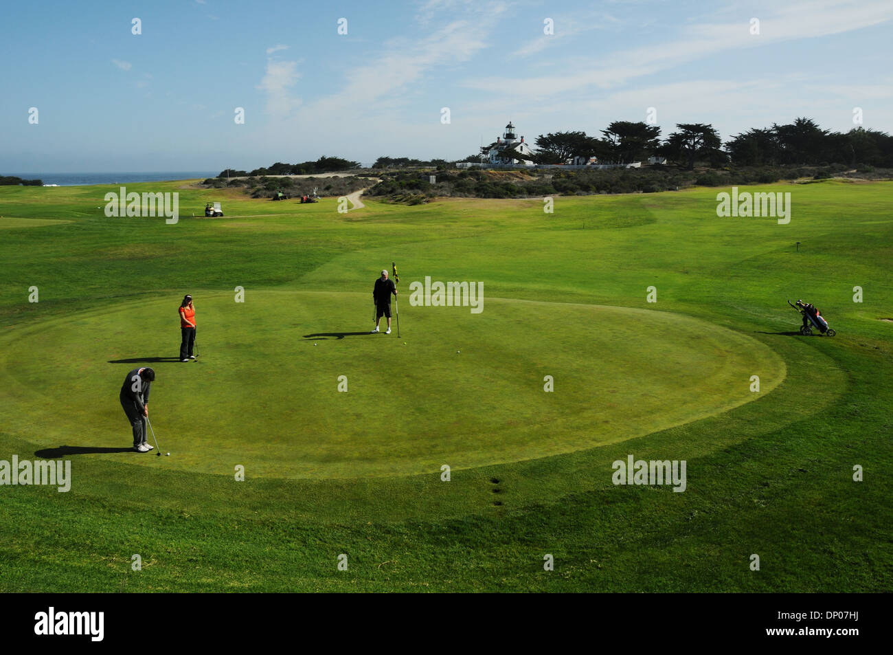 Pacific Grove Golf Links is situated on the tip of scenic Monterey Peninsula, overlooking Point Pinos and the Pacific Ocean, - Stock Image