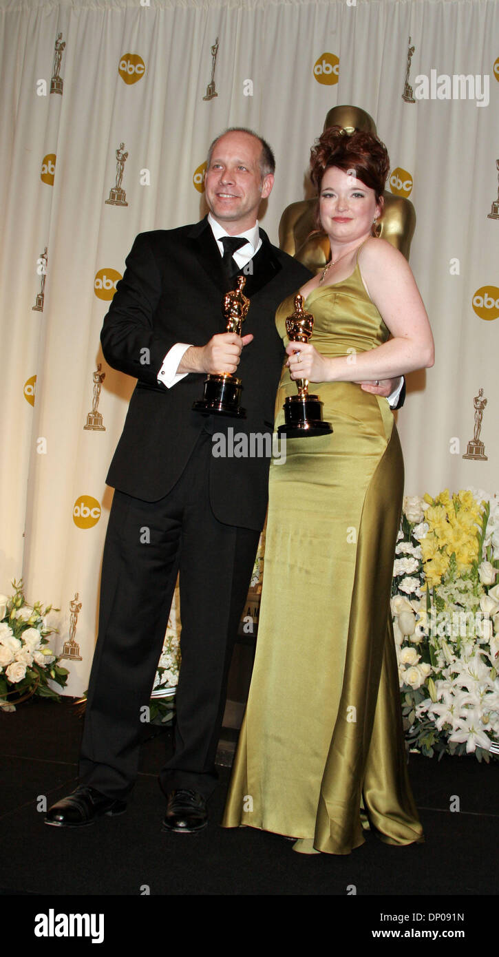 OSCARS 2006 Academy Award Winners For Best Documentary Short ERIC SIMONSON Left And CORINNE MARRINAN In The Press Room At 78th Annual