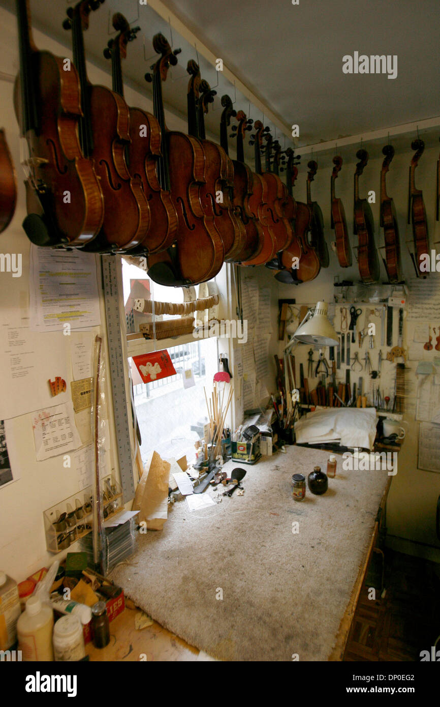 Mar 13, 2006; Berkeley, CA, USA; One of 6 working areas where craftsmen repair and renovate violins, some of which are more than 400 hundred years old.  Tired of working for Caterpillar as a mechanic, and with an appreciation for violin music, Jay Ifshin spent three years at the violin-making school in Salt Lake City.  With schooling completed, Jay bought a small violin shop in Ber - Stock Image