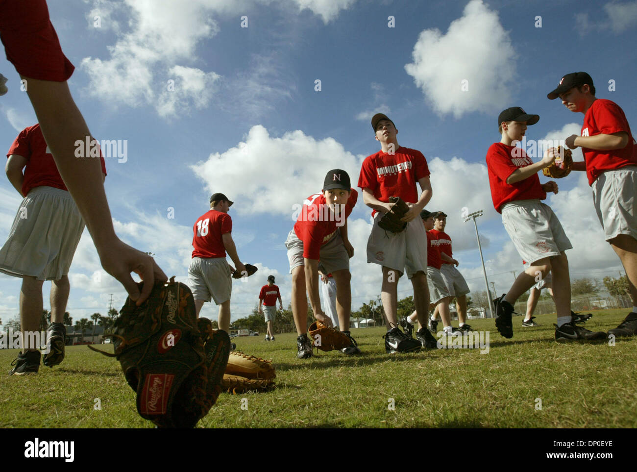 Mar 14, 2006; Stuart, FL, USA; For 26 years, the Newark Academy baseball team has come to Florida to get ready for the Spring baseball season.  Head coach Jon Downs said that this year, 23 boys between the  ages of 14-18 made the trip.  The school, located in Livingston, New Jersey, will be practicing at facilities throughout the Treasure Coast during their 10-day stay and will pla - Stock Image