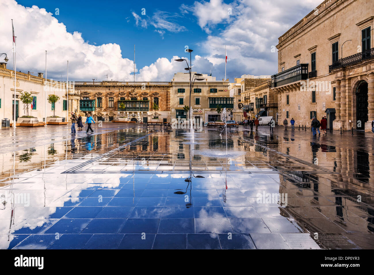 St George's Square and Grand Master's Palace, Valletta, Malta - Stock Image
