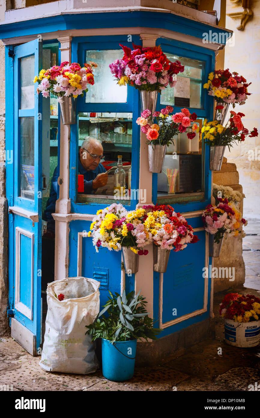 Flower Stall in Valletta, Malta. - Stock Image