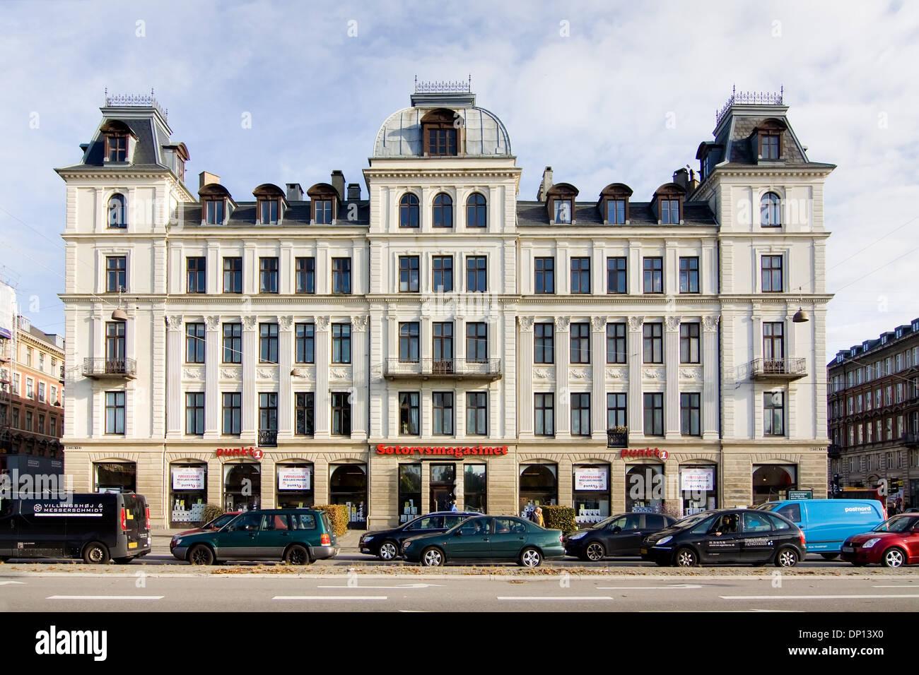 View along historic buildings of Havnegade Copenhagen, Denmark, Architecture - Stock Image