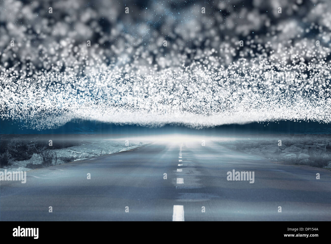 Bright stars of energy over landscape - Stock Image