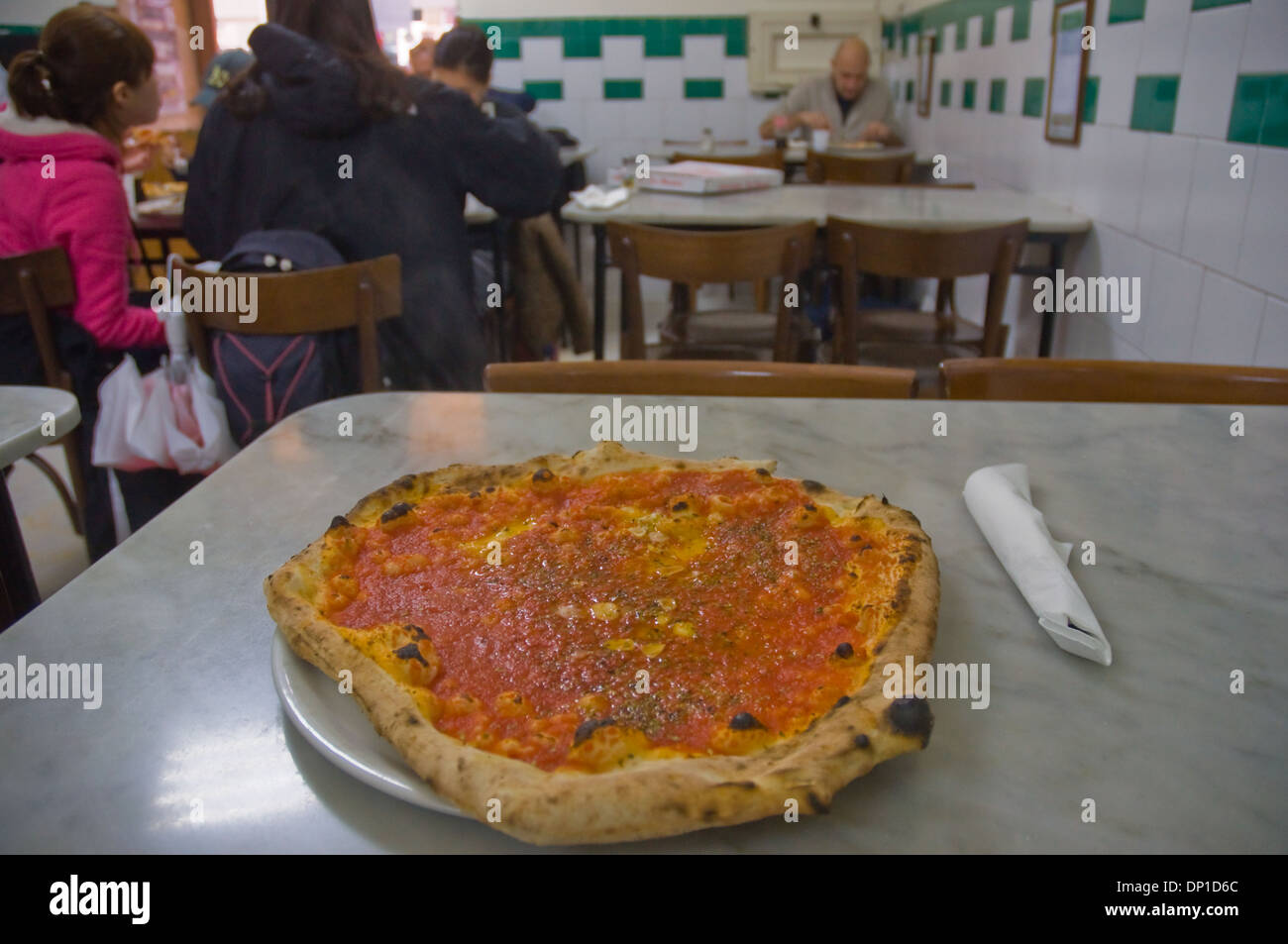 Pizza Marinara at Da Michele pizzeria Naples Campania Italy Europe Stock Photo