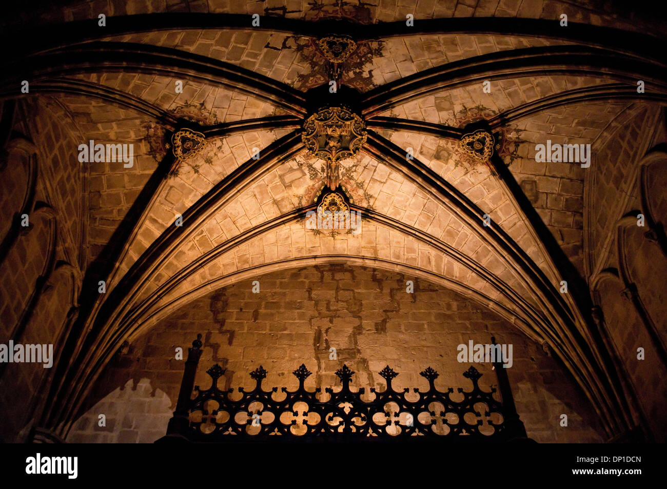 Cathedral interior, ribbed vault ceiling, Barcelona, Spain - Stock Image