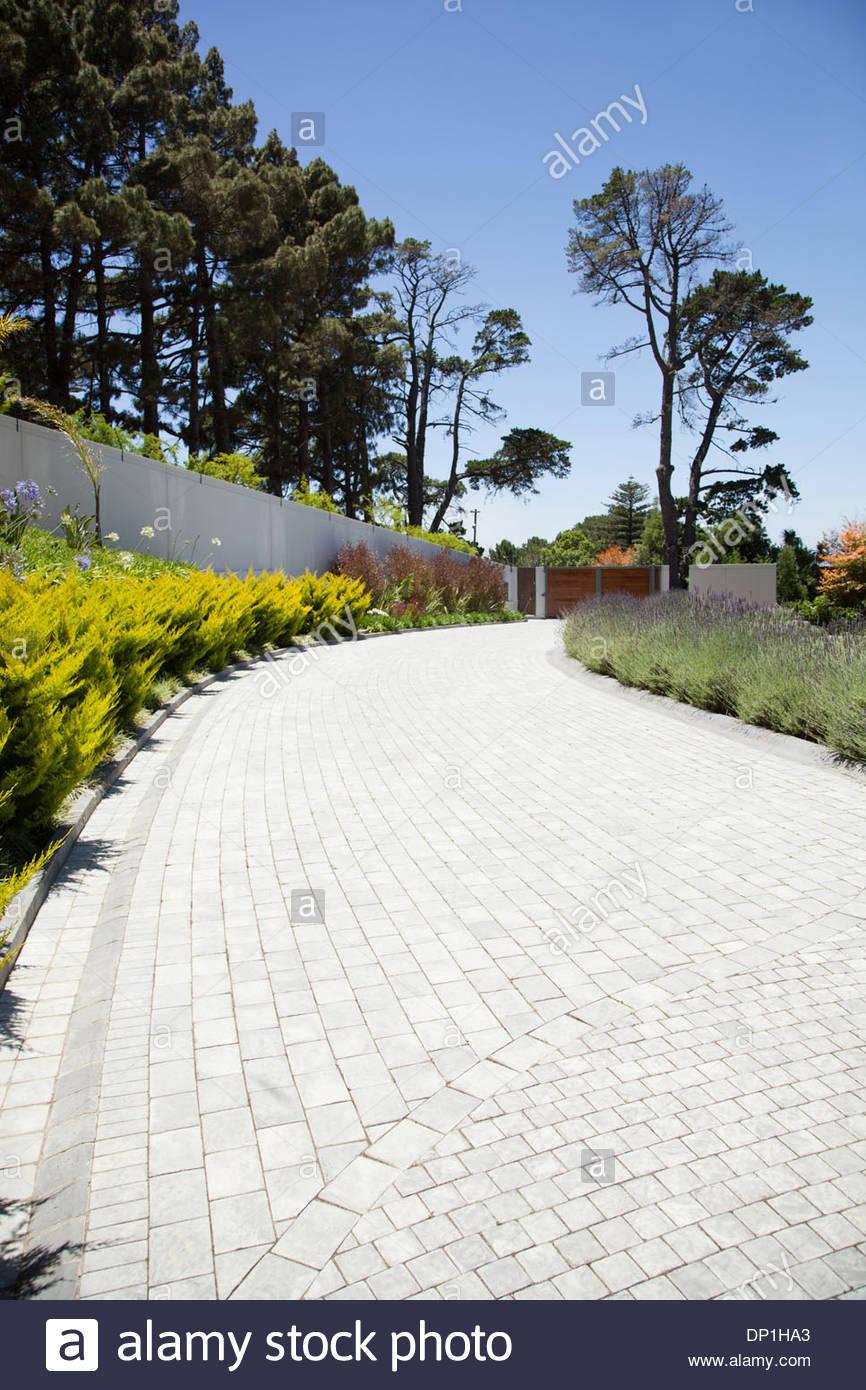 Plants along cobblestone driveway - Stock Image