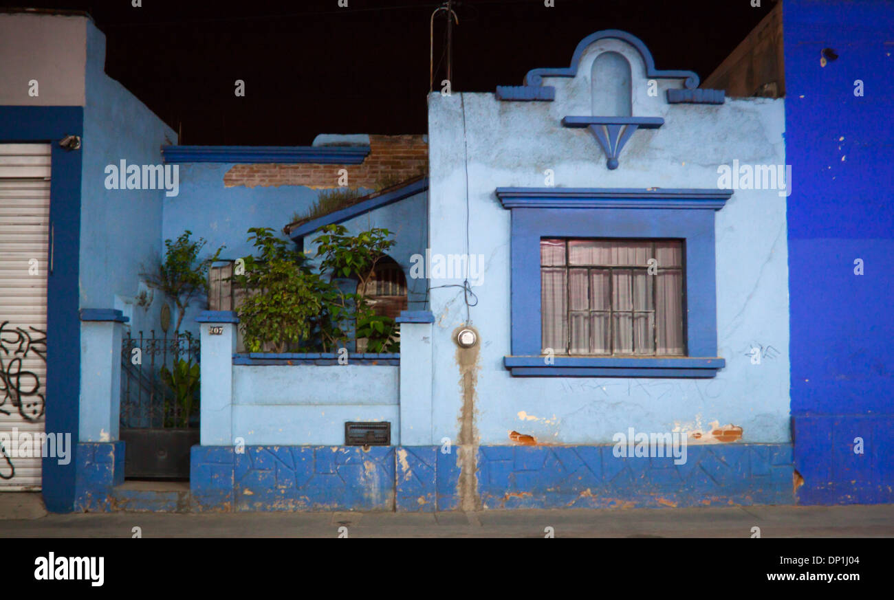Typical Blue Mexican House Oaxaca Oaxaca Mexico Stock Photo
