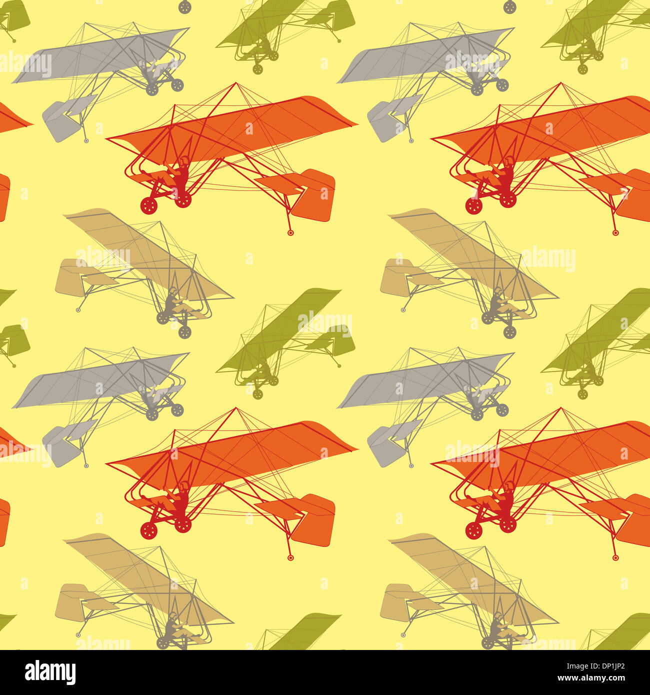 illustration seamless pattern with isolated gliders - Stock Image