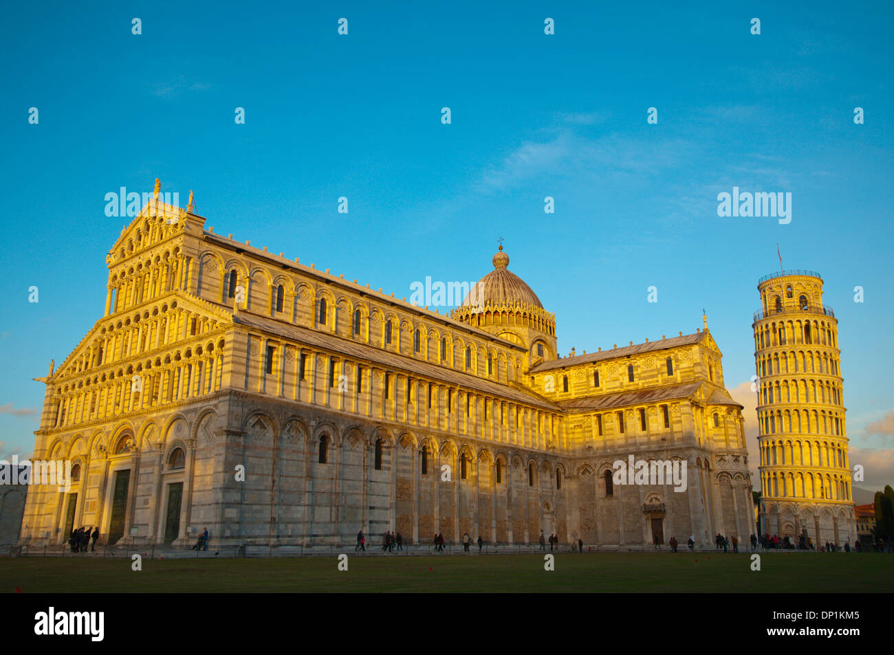 Duomo the Cathedral and Leaning Tower at Piazza del Miracoli the field of miracles Pisa city Tuscany region Italy - Stock Image