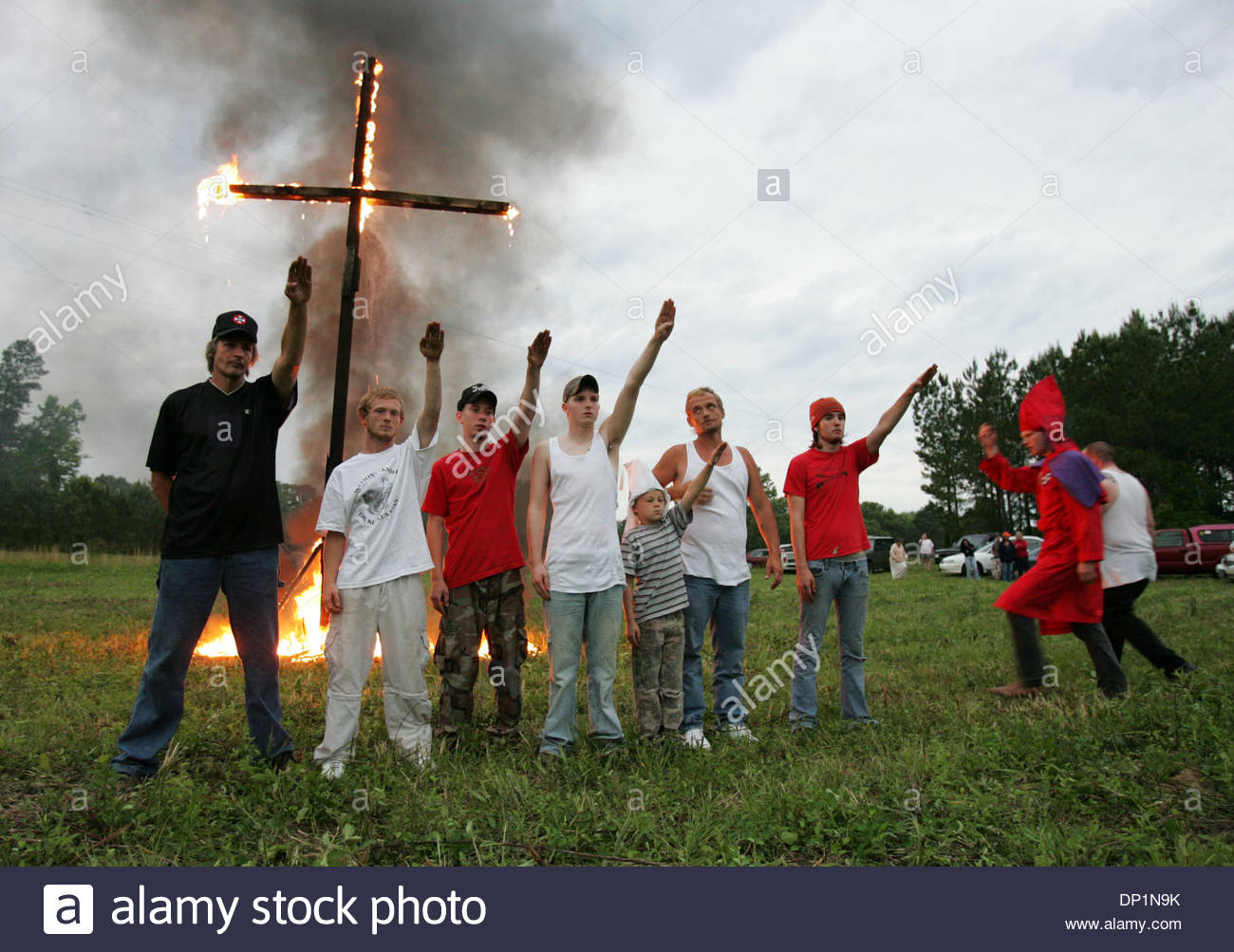 May 06, 2006; Red Bay, AL, USA; Newest members of National Knights of the Ku Klux Klan at their first cross-lighting Stock Photo