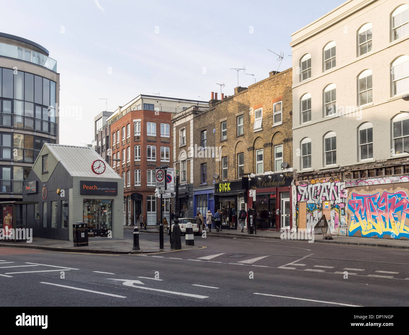 Junction of Bethnal Green Road and Redchurch Street, London, England - Stock Image