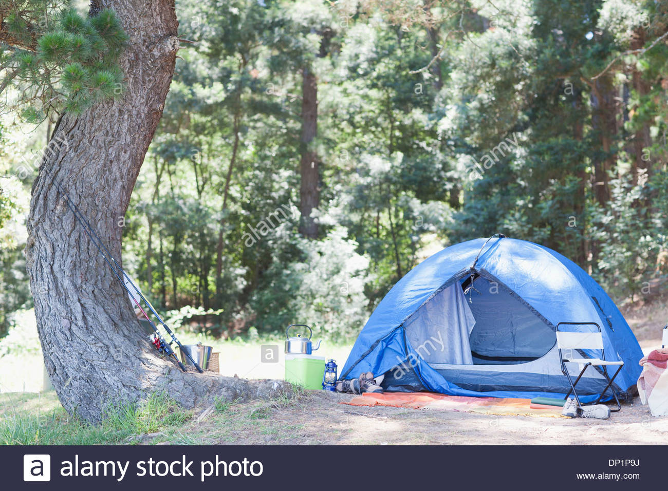 Tent in campsite - Stock Image