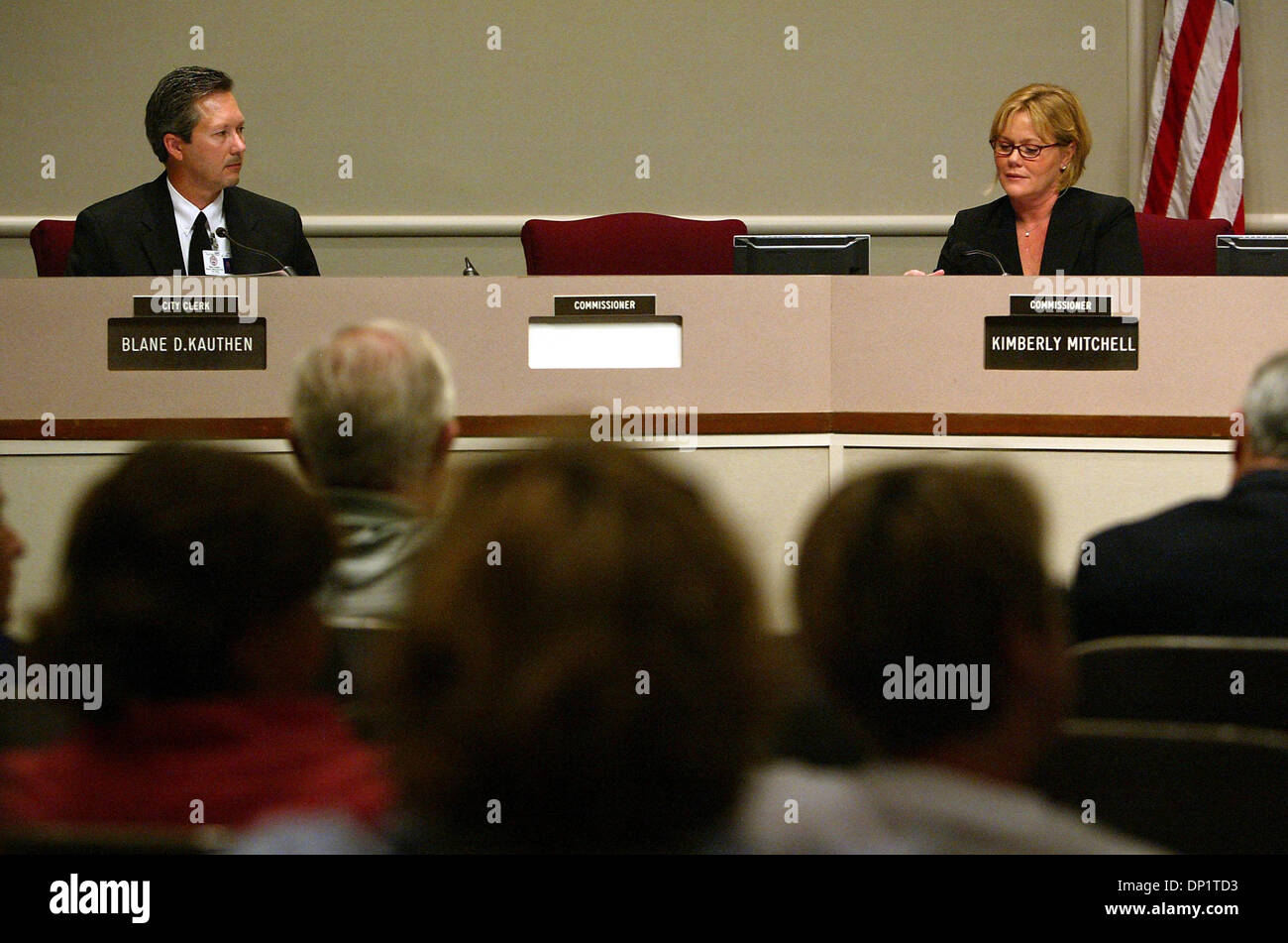 May 08, 2006; West Palm Beach, FL, USA; On Monday afternoon the absence of Ray Liberti at a commission meeting left an empty space between City Clerk Blane D. Kauthen and Commissioner Kimberly Mitchell. Mandatory Credit: Photo by Uma Sanghvi/Palm Beach Post/ZUMA Press. (©) Copyright 2006 by Palm Beach Post - Stock Image