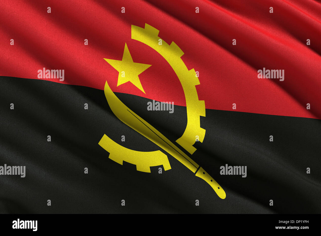 Flag of Angola waving in the wind - Stock Image