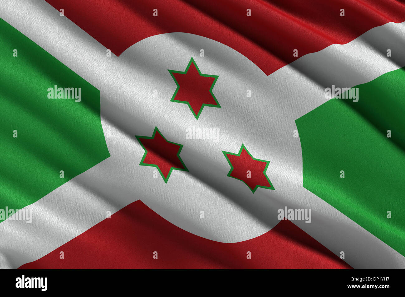 Flag of Burundi waving in the wind - Stock Image