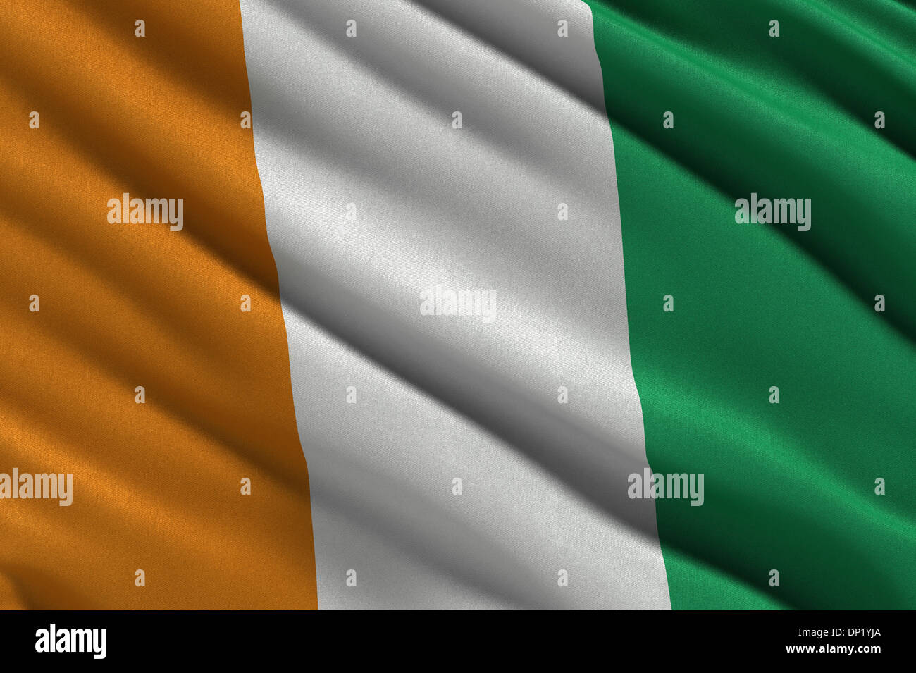 Flag of the Ivory Coast or Republic of Côte d'Ivoire waving in the wind - Stock Image