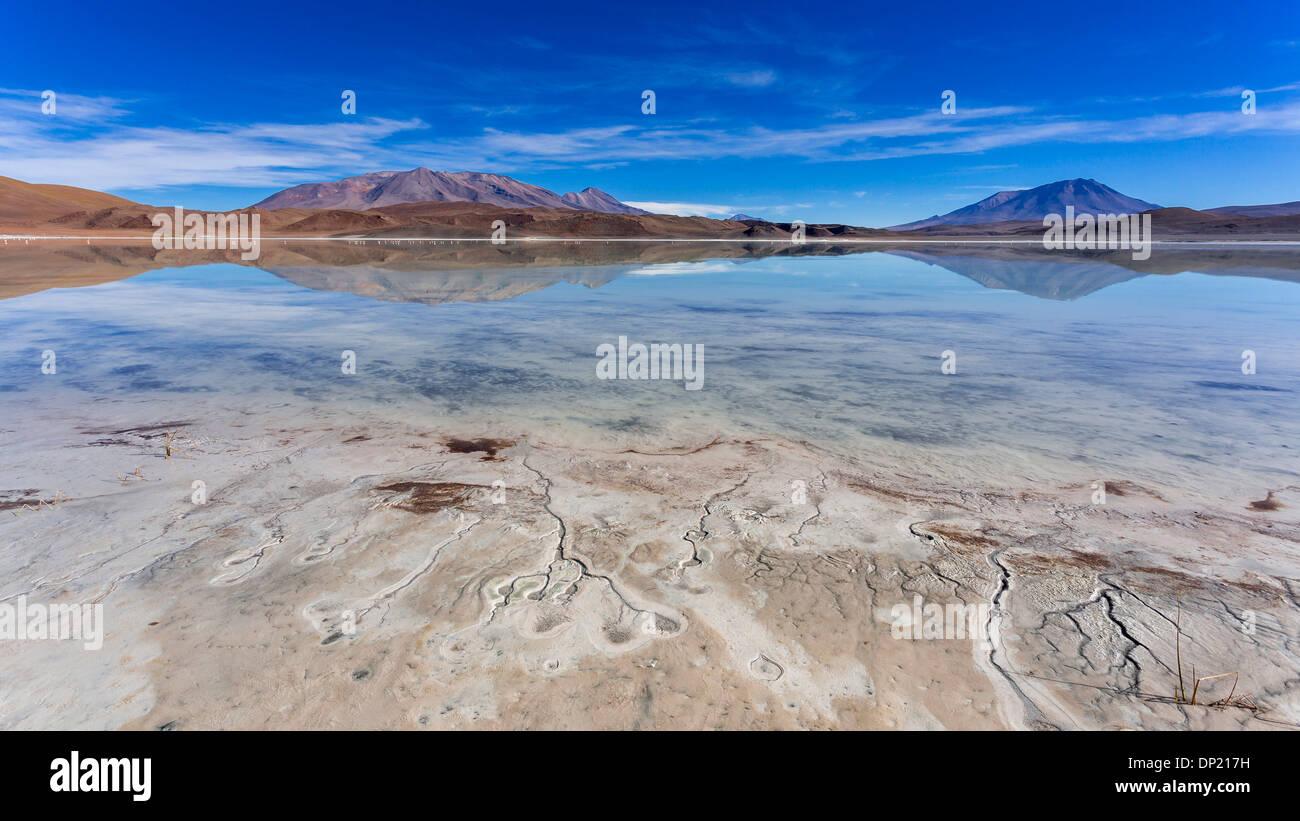 The lake Laguna Ramaditas, Potosí Department, Altiplano, Andean Plateau, Andes, Bolivia - Stock Image