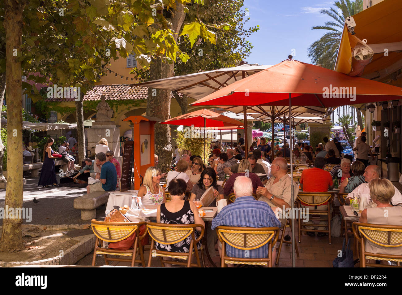 Restaurant in Menton on the Cote d'Azure France - Stock Image