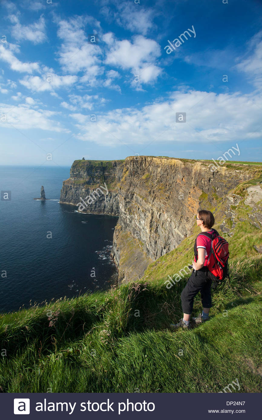 Walker on the Cliffs of Moher Coastal Path, County Clare, Ireland. Stock Photo