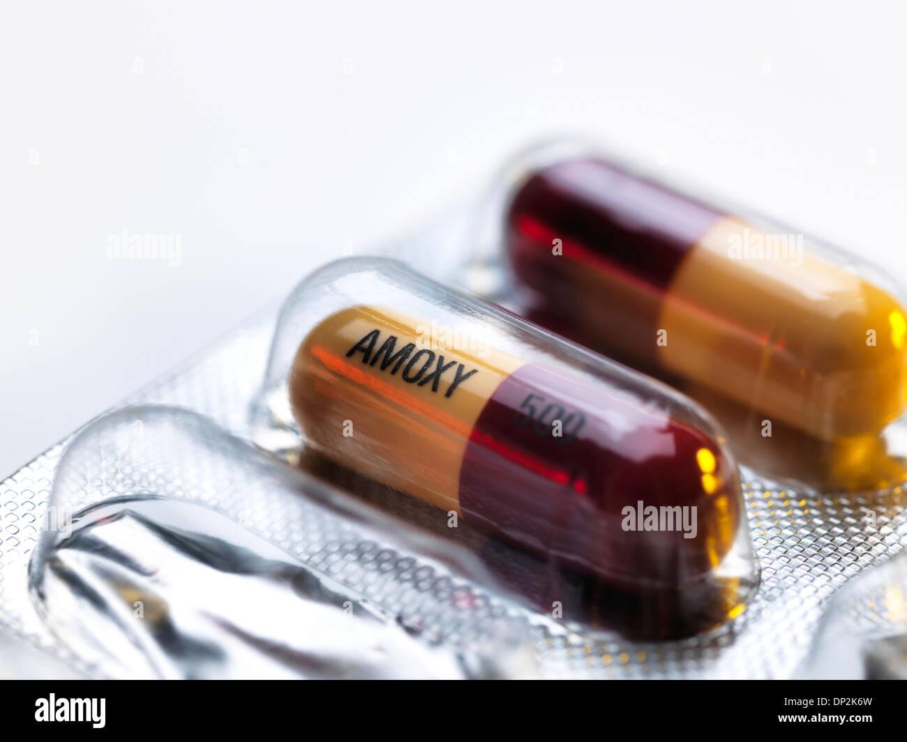 Amoxicillin antibiotic drug capsules - Stock Image