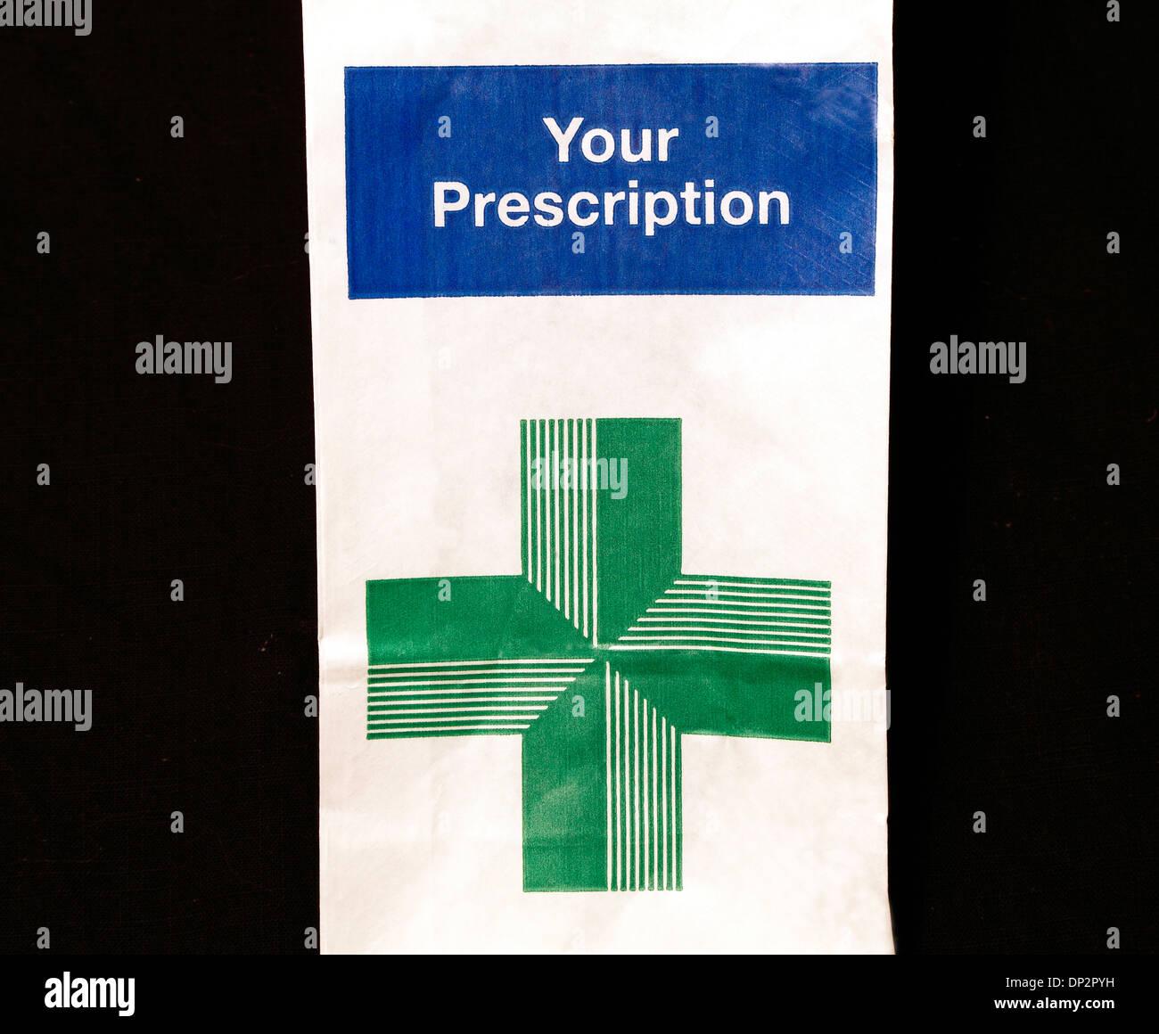 N H S Prescription bag, Your Prescription, UK National Health Service, medicine - Stock Image
