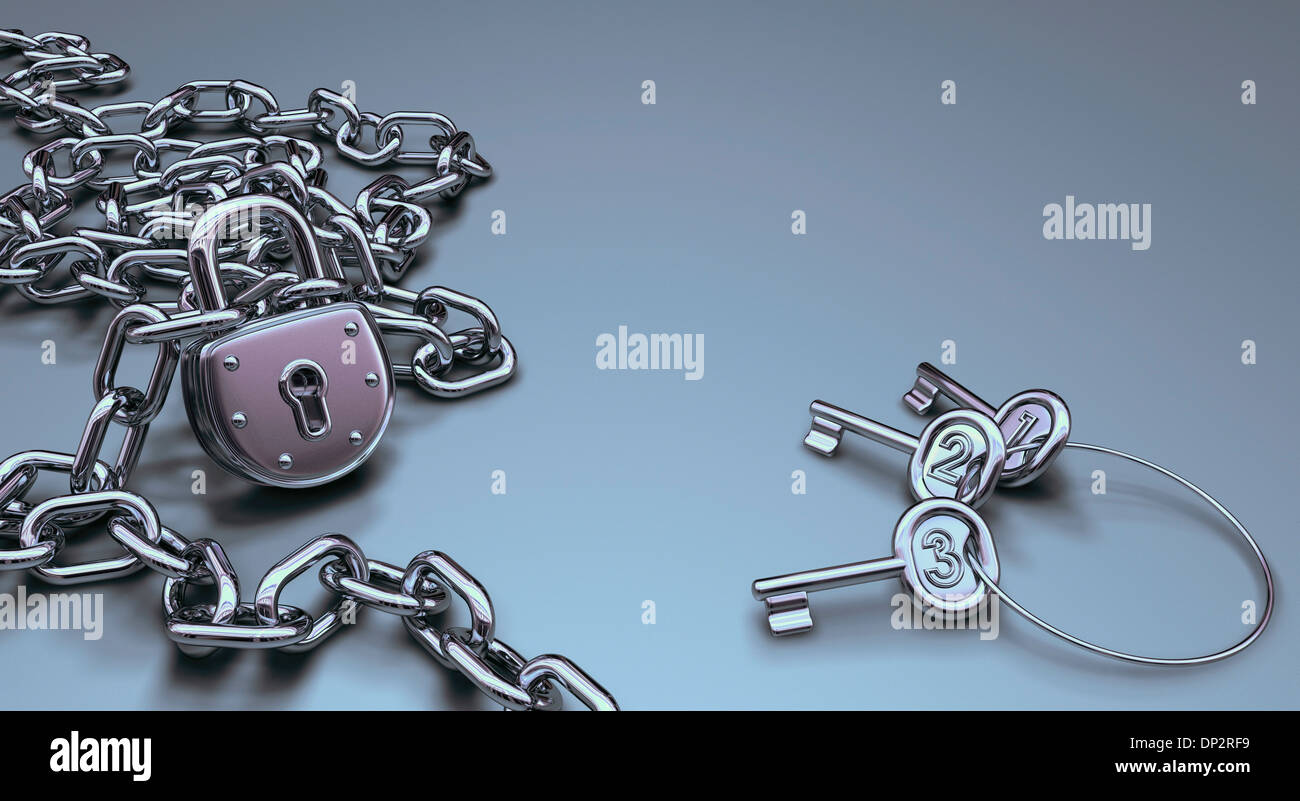 Padlock and keys, artwork - Stock Image