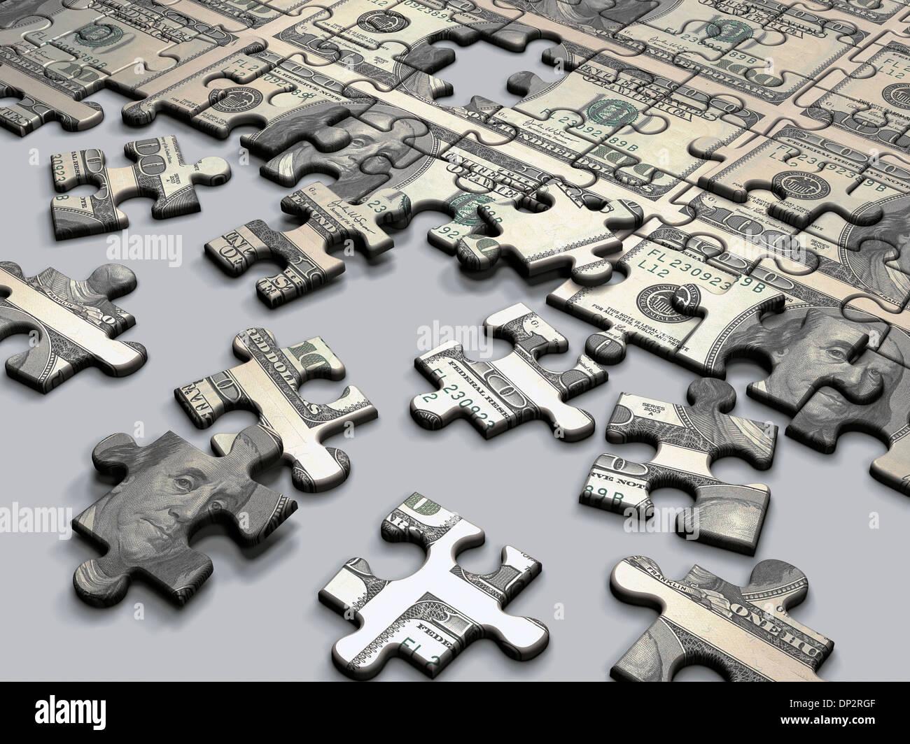 Jigsaw puzzle, artwork - Stock Image