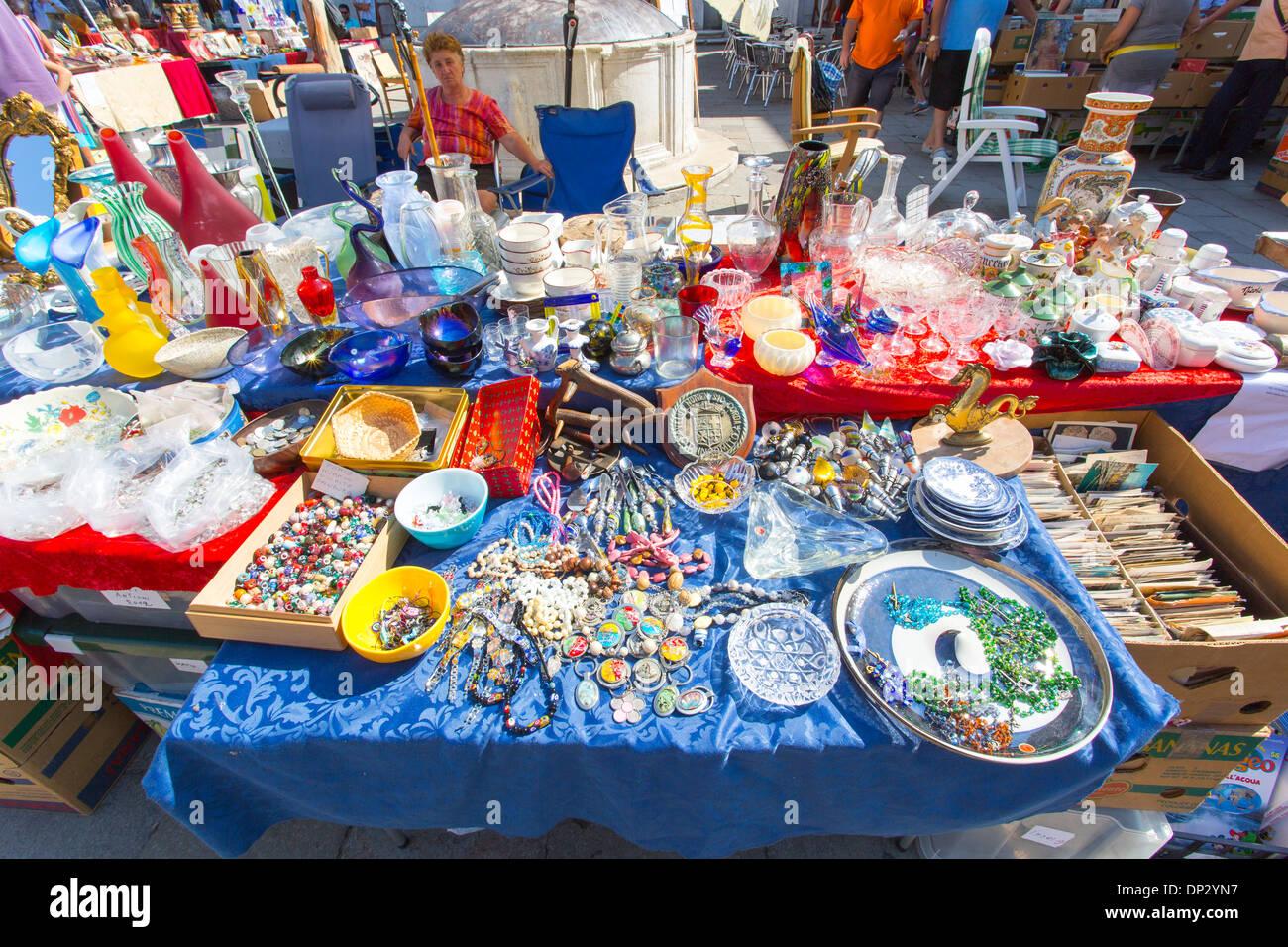 07/09/2013 Flea market in Campo San Barnaba, Venice, Italy. - Stock Image