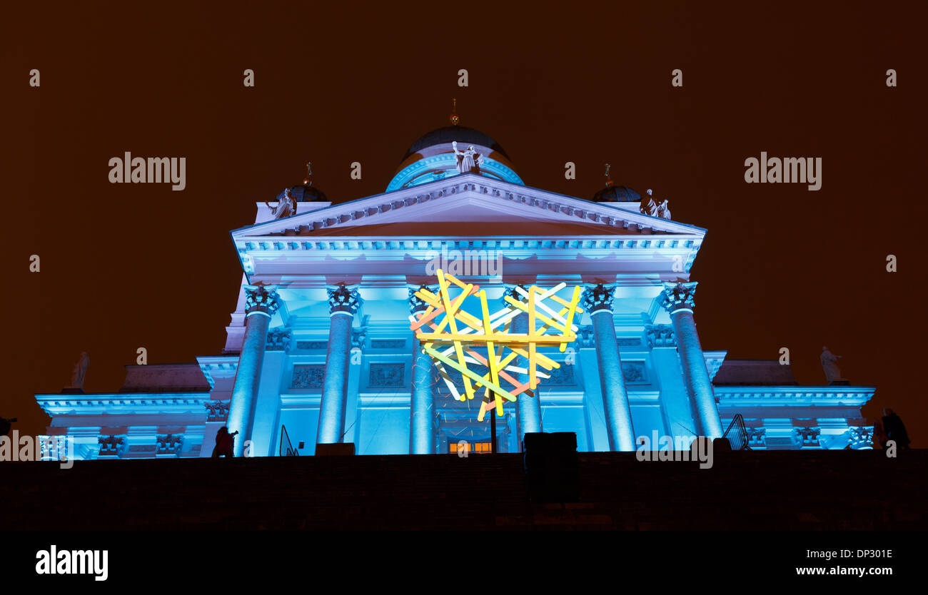 Helsinki Cathedral in surrealistic colors projected onto its facade and a heart symbol in the Lux Helsinki 2014 event. - Stock Image