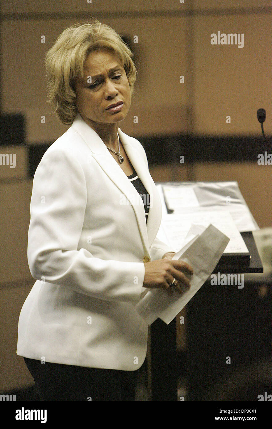 Jun 14, 2006; West Palm Beach, FL, USA; Jamie Lee Daniel pled guilty to killing his former wife Renay and their son Sabree and was sentenced to 50 years in prison with no chance of early release today at the Palm Beach County Courthouse in West Palm Beach. Family members of murder victims were present in Judge Krista Marx's courtroom. One of Renay's surviving sisters, Stepanie spok - Stock Image
