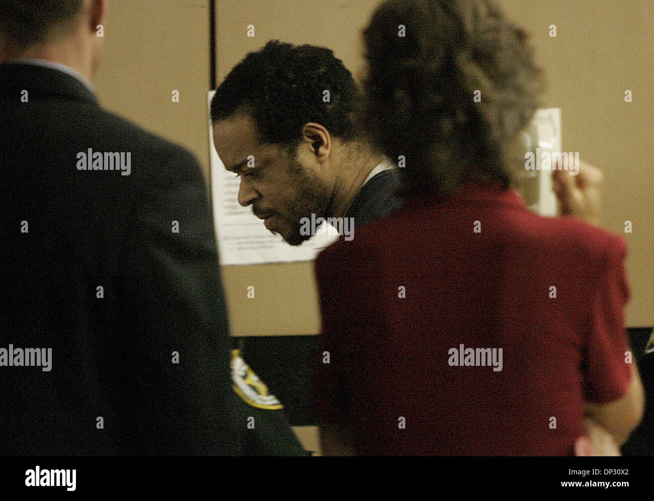 Jun 14, 2006; West Palm Beach, FL, USA; Jamie Lee Daniel, center, pled guilty to killing his former wife Renay and their son Sabree and was sentenced to 50 years in prison with no chance of early release today at the Palm Beach County Courthouse in West Palm Beach. Family members of murder victims were present in Judge Krista Marx's courtroom. Mandatory Credit: Photo by Thomas Cord - Stock Image