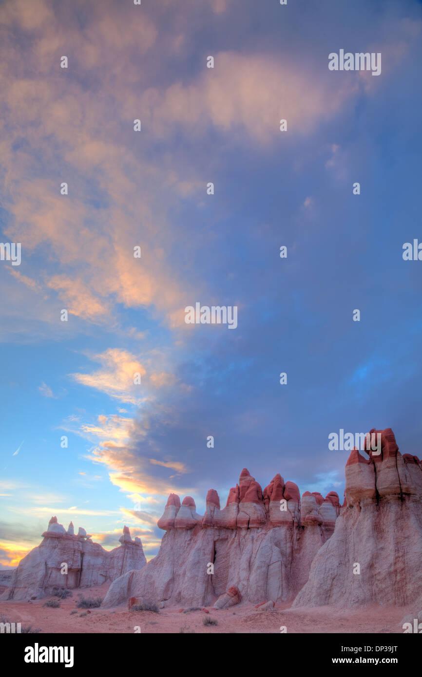 Mudmen hoodoos and clouds at Blue Mesa, Hopi Reservation, Arizona - Stock Image