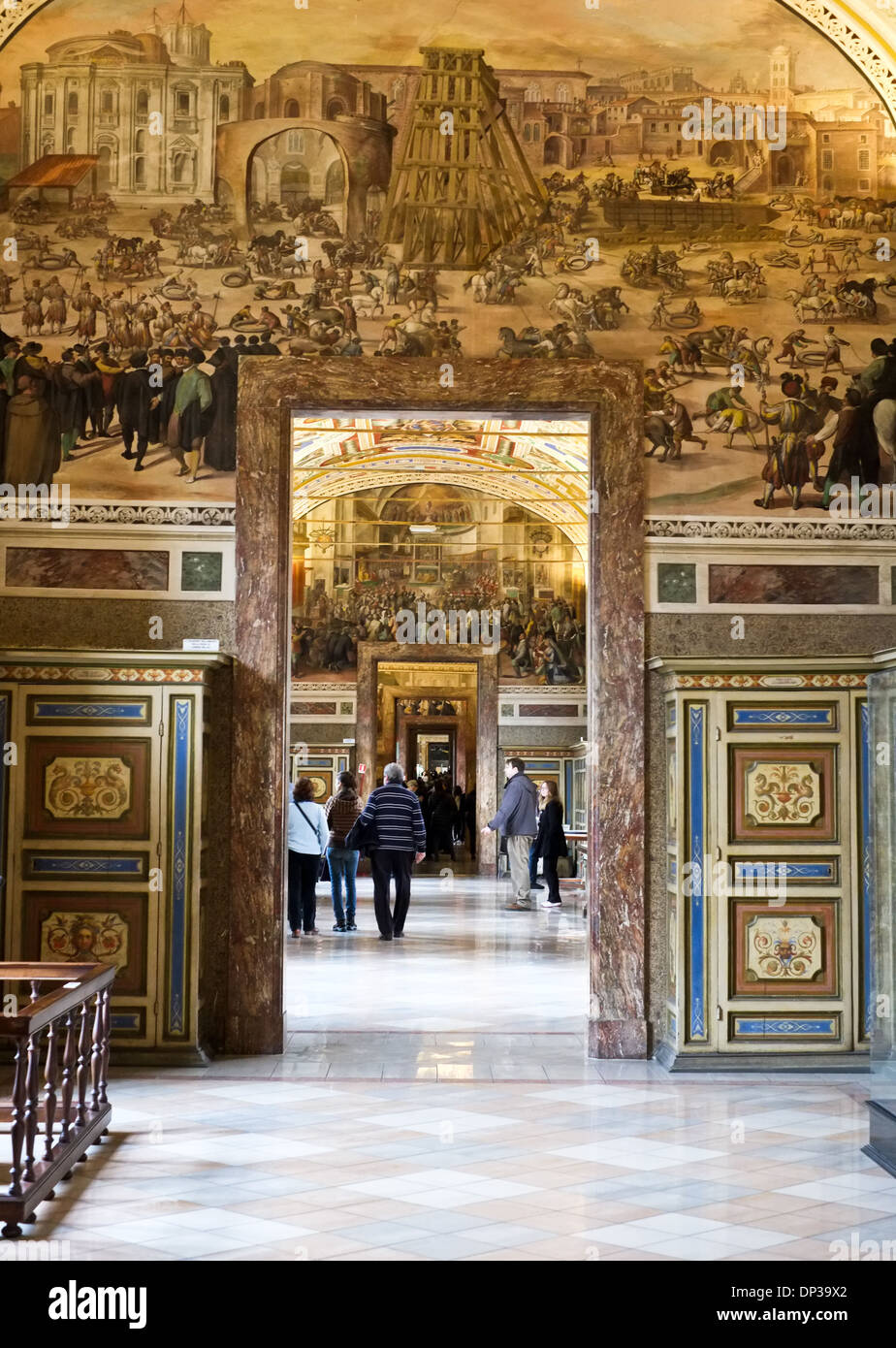 Tourists in the Vatican Museum Rome Italy - Stock Image