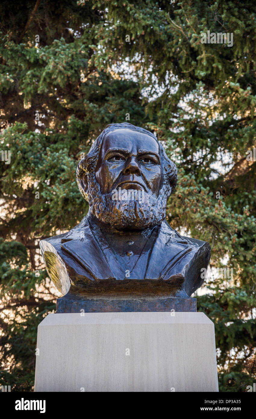 Charles Coulson Rich bust at Mormon Tabernacle in Paris, Oregon Trail Bear Lake Scenic Byway, Idaho, USA - Stock Image