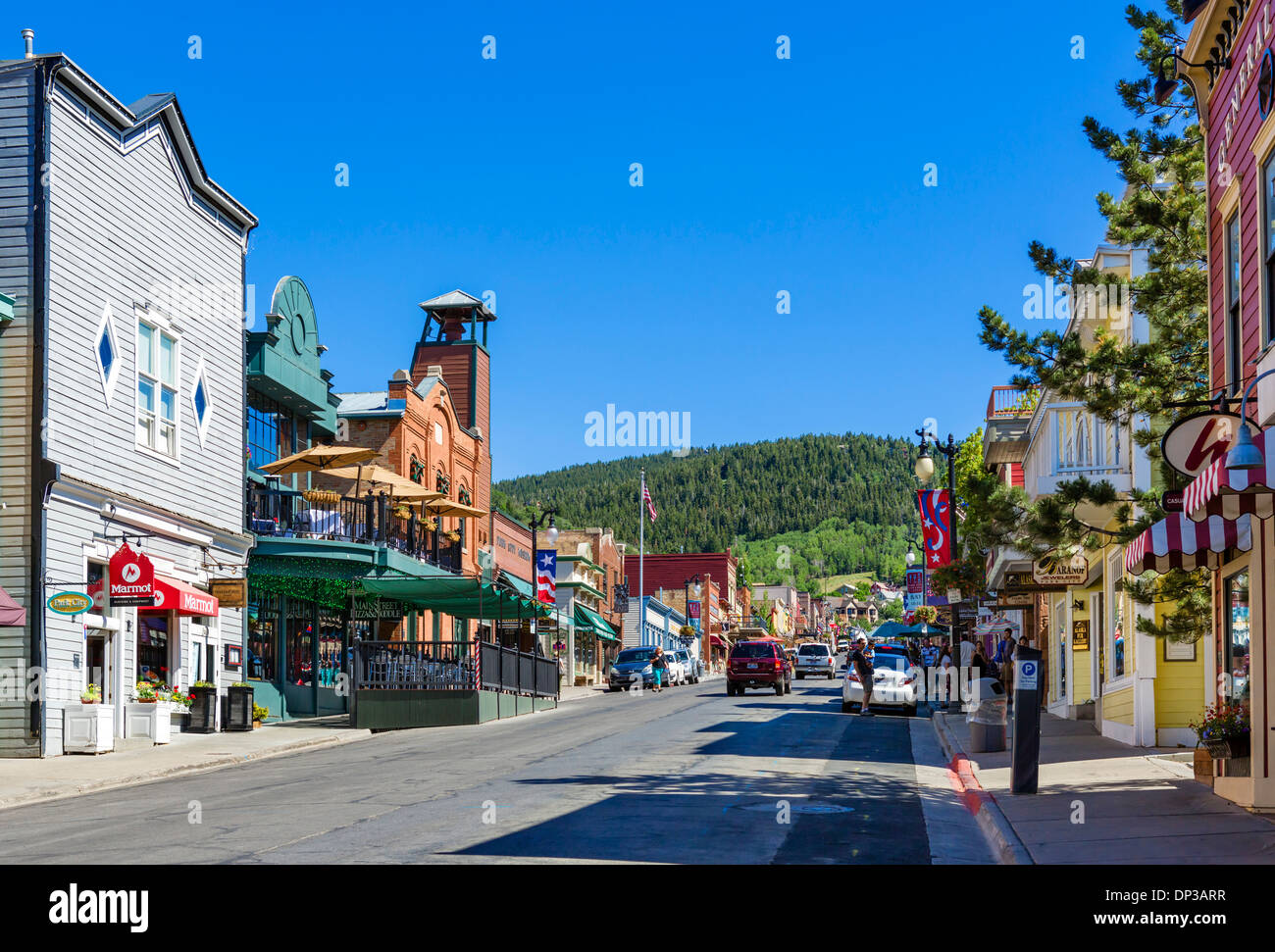 Shops on Main Street in downtown Park City, Utah, USA Stock Photo