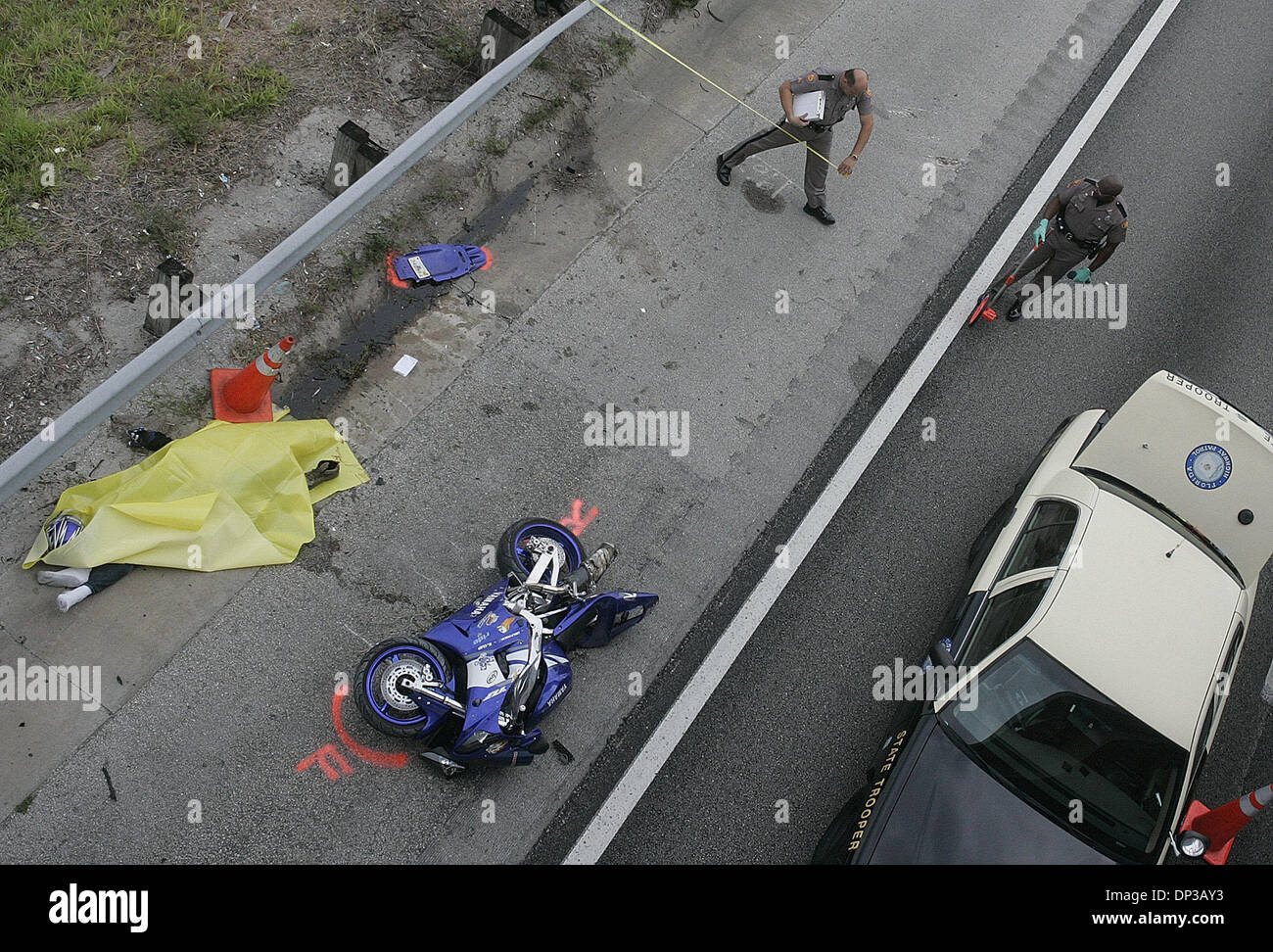 Florida Highway Patrol Traffic >> Jun 26, 2006; Palm Beach Gardens, FL, USA; A fatal motorcycle Stock Photo: 65227991 - Alamy