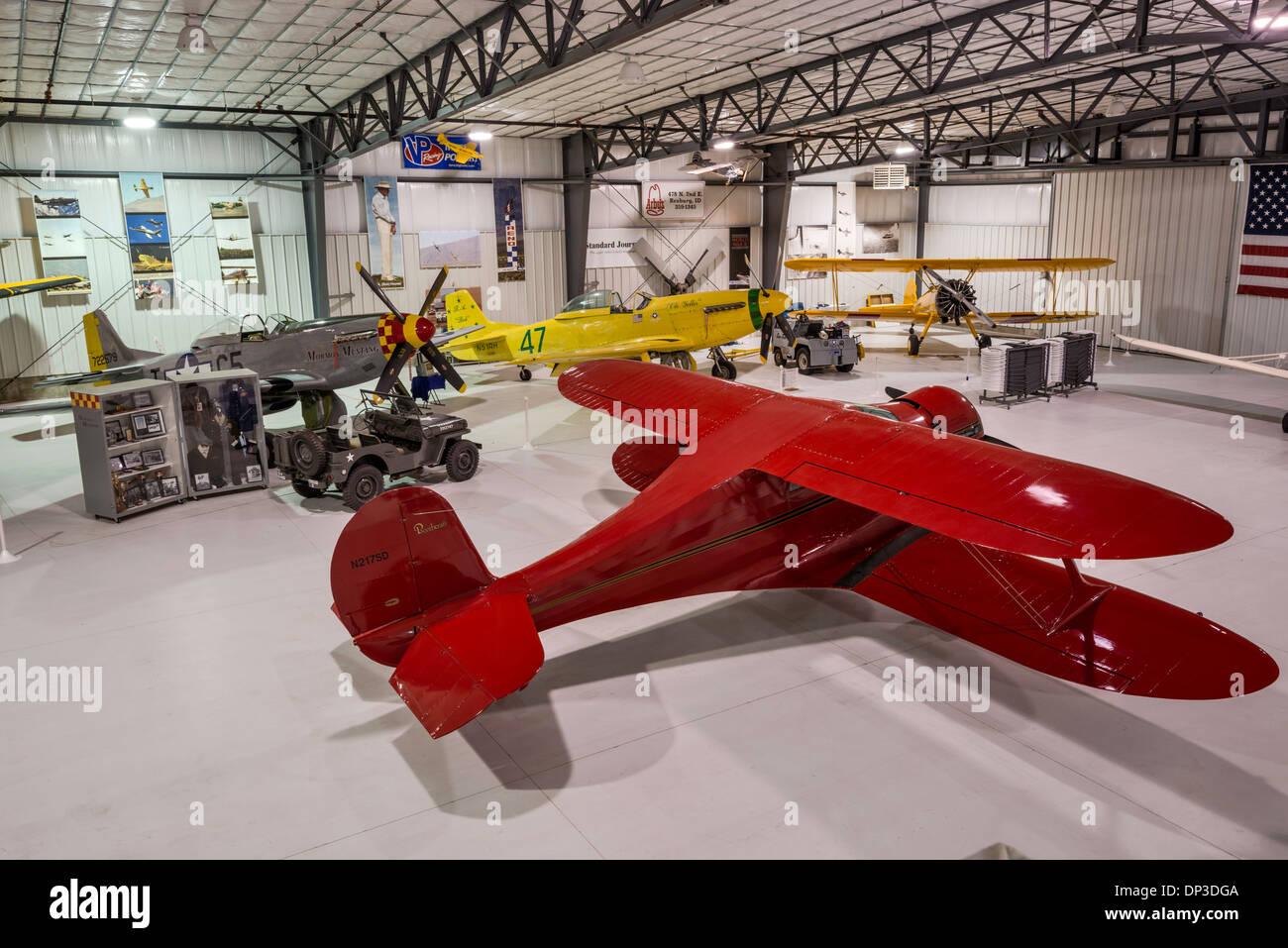 Beechcraft Model 17 Staggerwing, 1930s US corporate biplane aircraft, Legacy Flight Museum, Rexburg, Idaho, USA - Stock Image