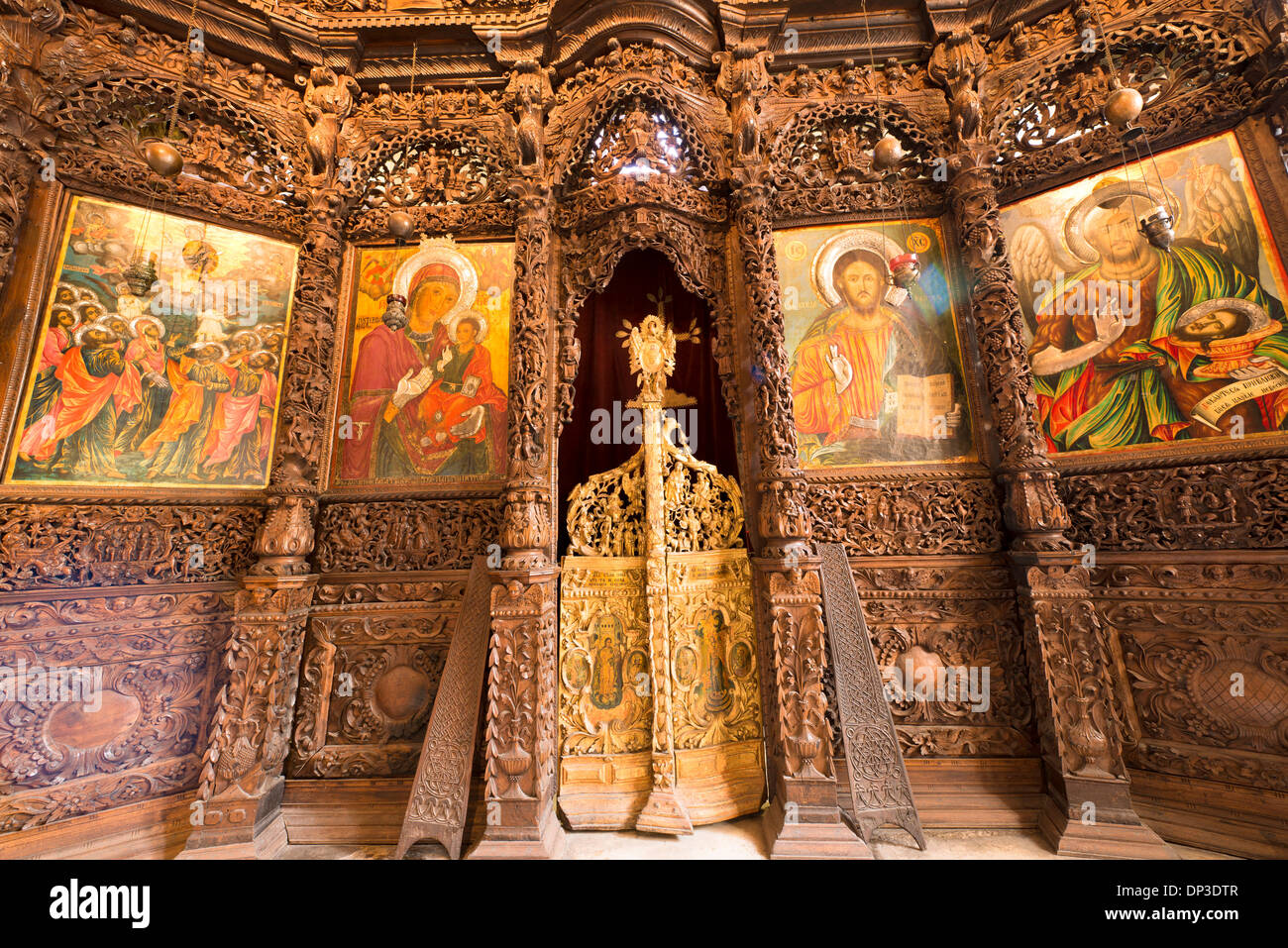 Church of Saint Spas Skopje Macedonia Western Balkans Region Europe Frescoes and carved iconostases wood carvings 17th Century - Stock Image