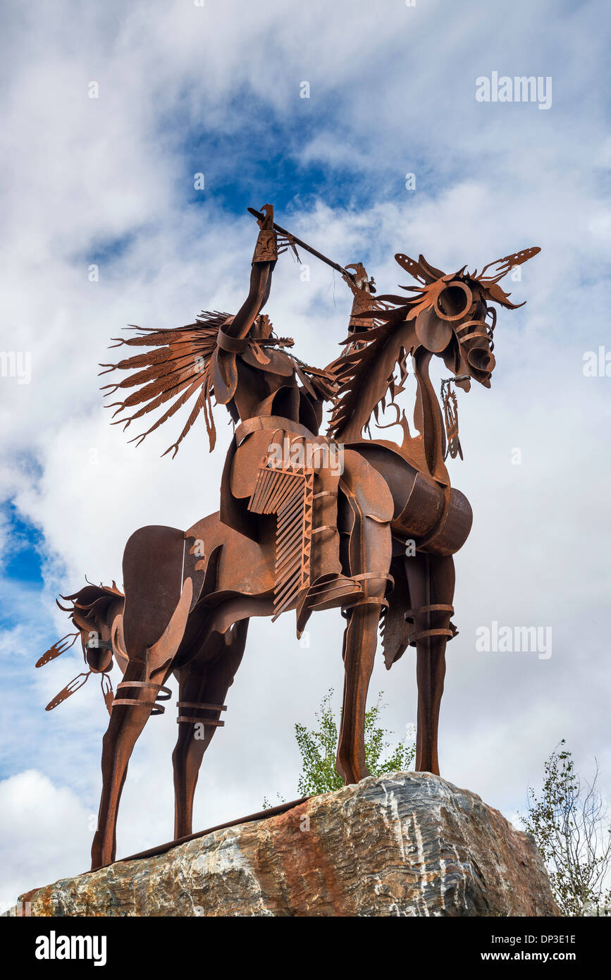 Metal statue at trailhead at Trail of the Coeur d'Alenes in Plummer, Coeur d'Alene Indian Reservation, Idaho, USA - Stock Image