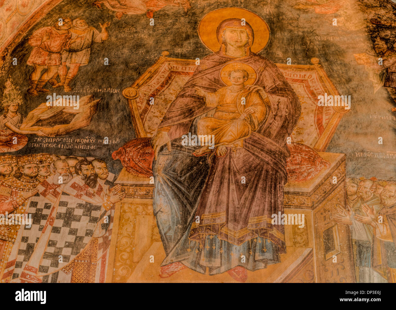 Detail of Madonna and child Holy Mother of God Peribleptos Church Ohrid Macedonia Built in 1295 Byzantine Frescoes - Stock Image