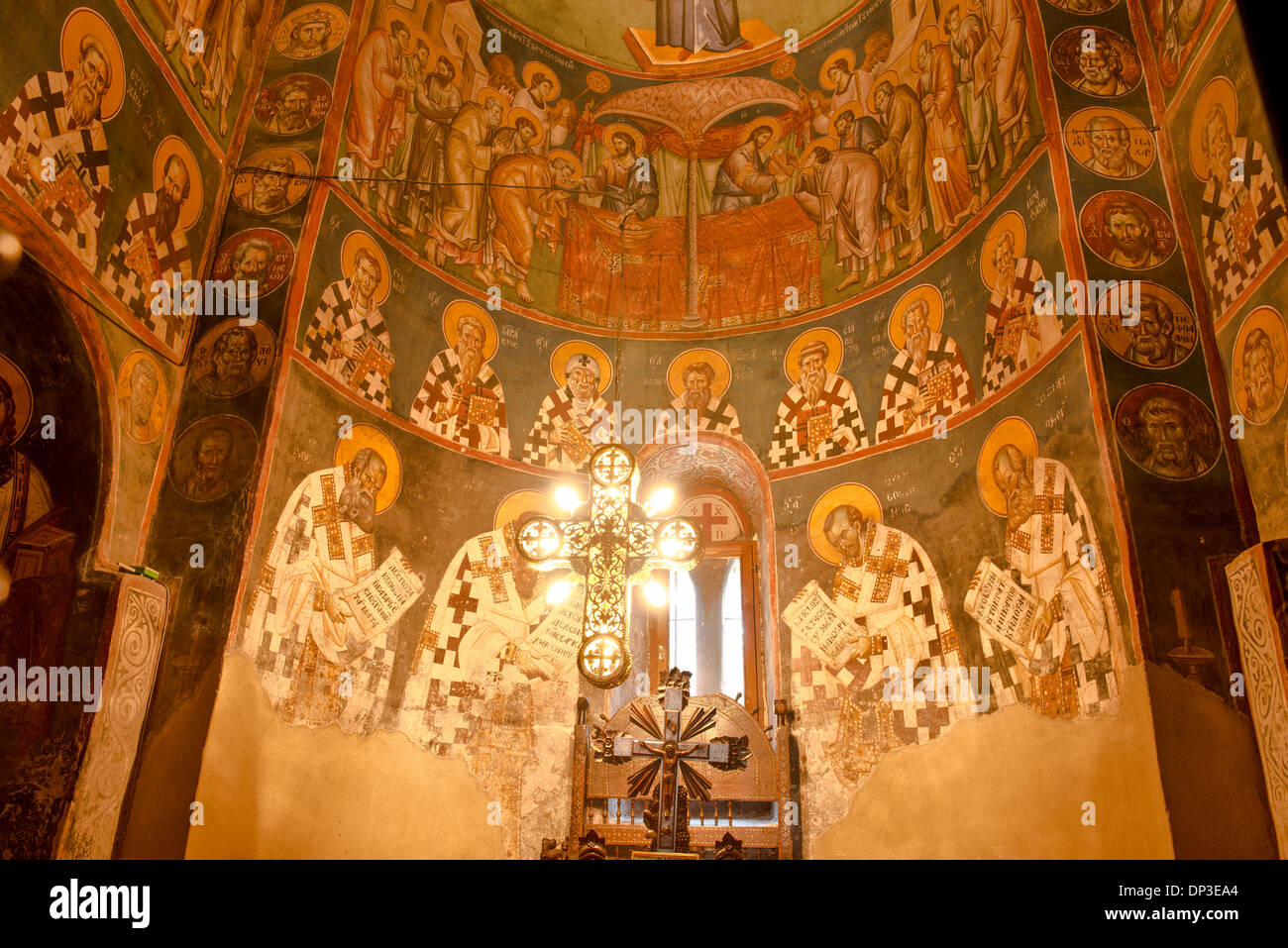Frescoes sunlit cross Holy Mother of God Peribleptos Church Ohrid Macedonia Built in 1295  Examples of Byzantine frescoes world - Stock Image