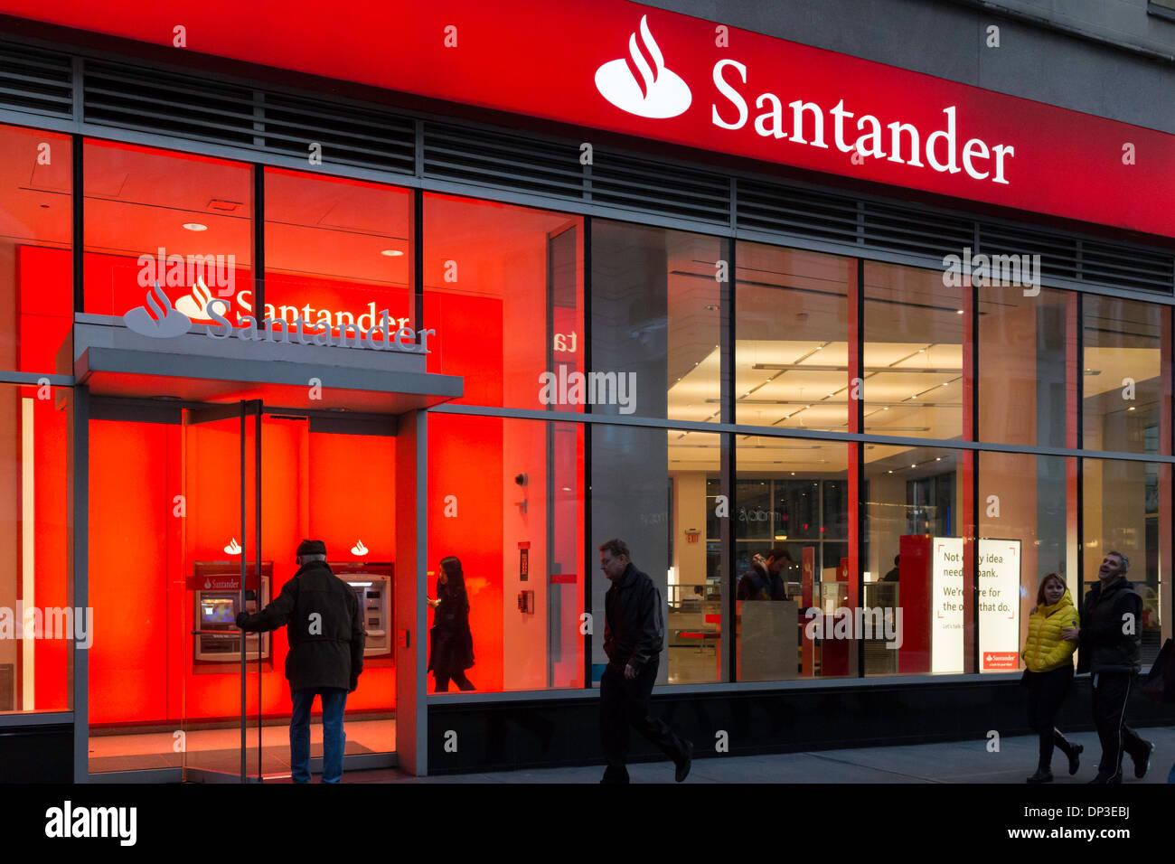Man Entering Banco Santander Branch Exterior at Dusk, NYC ...