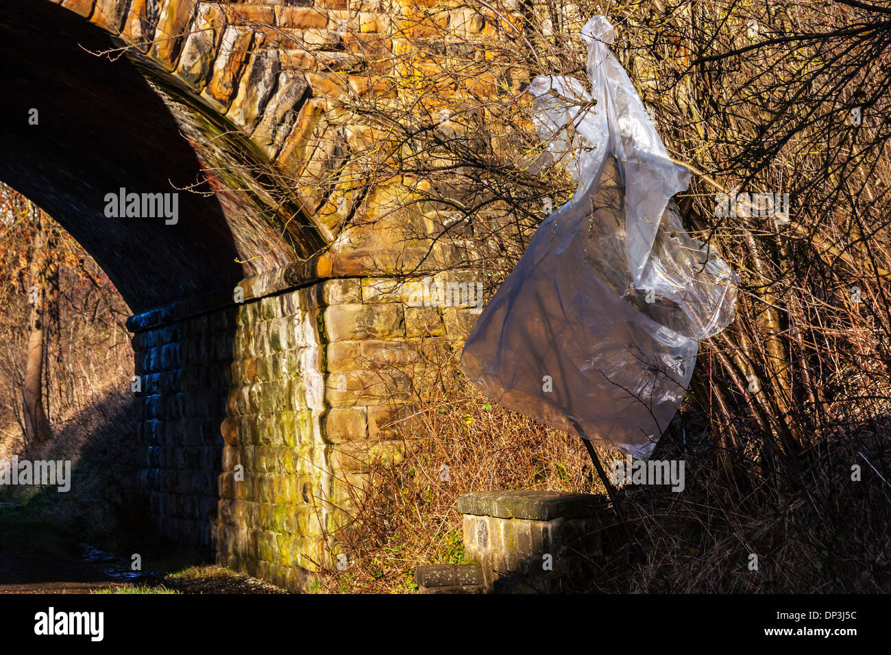 Plastic Waste in Countryside Stock Photo