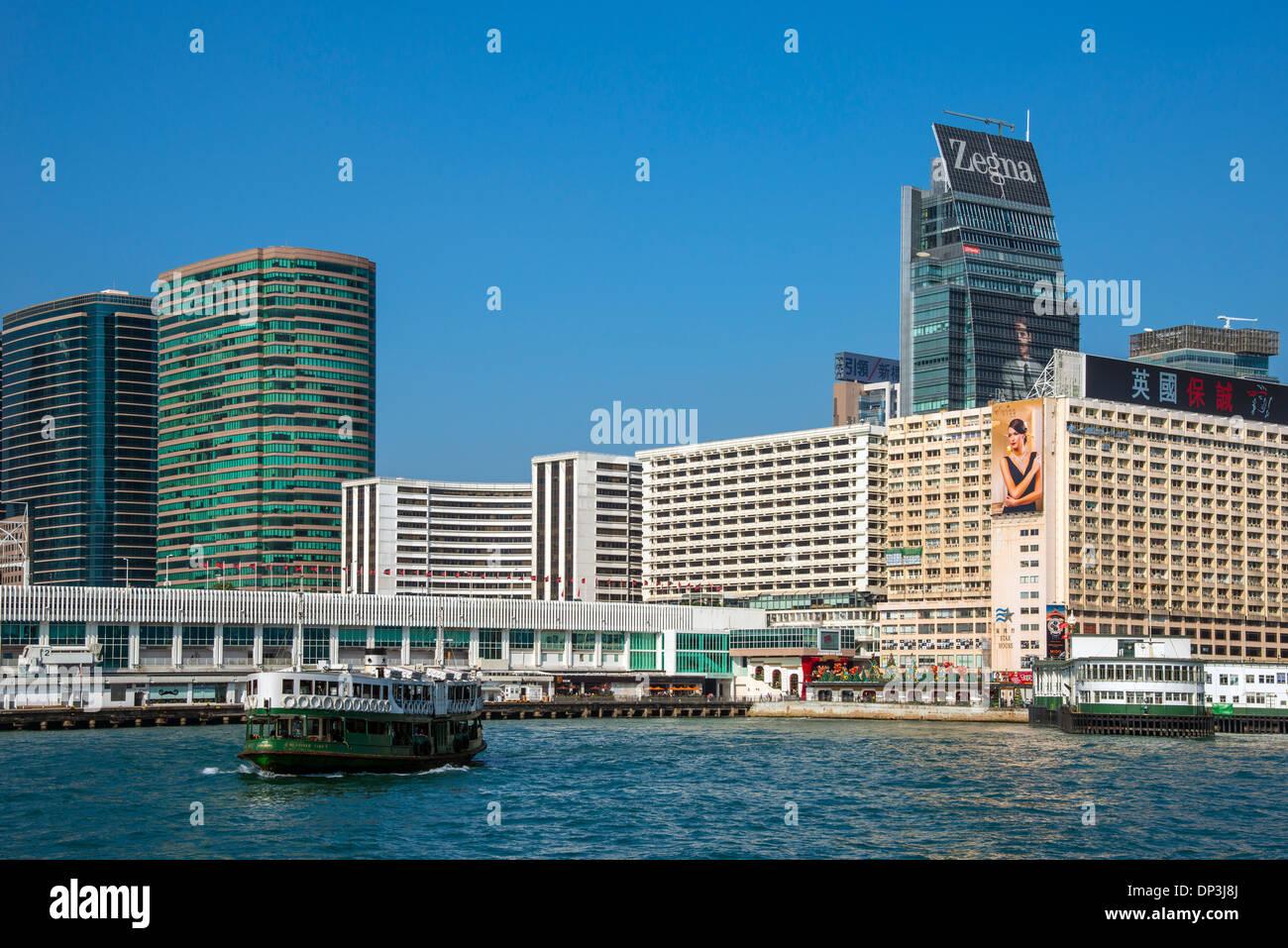 Kowloon Waterfront and Star Ferries, Hong Kong - Stock Image
