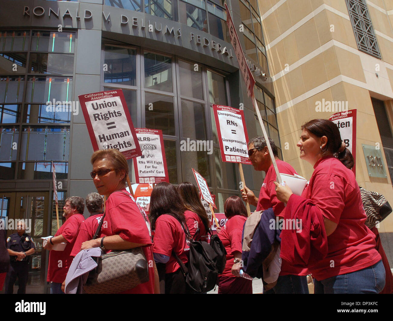 Jul 11, 2006; Oakland, CA, USA; Nurses march outside the Ronald Dellums Federal Building for the California Nurses - Stock Image