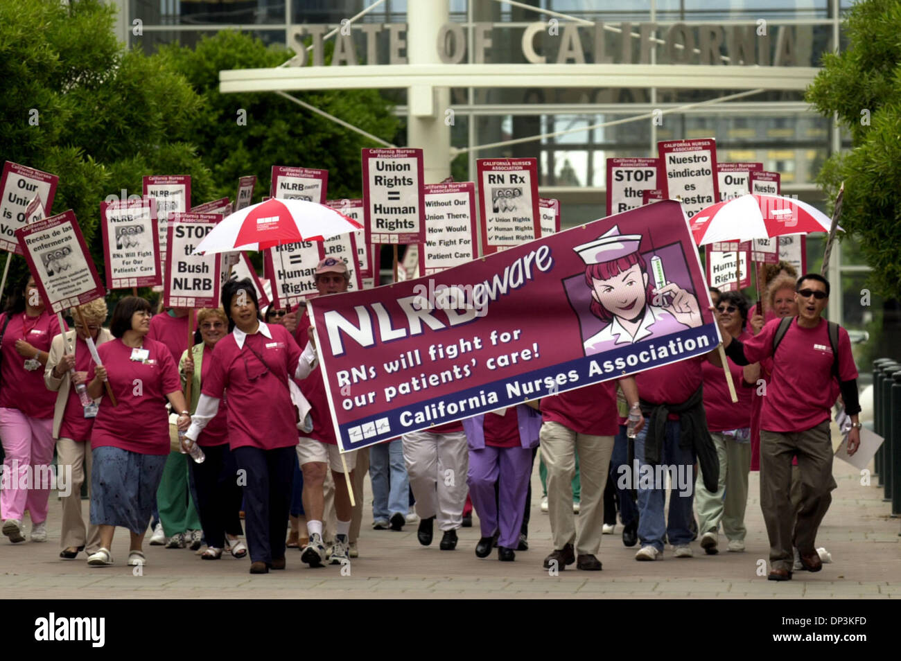 Jul 11, 2006; Oakland, CA, USA; Nurses march on to Oakland City Hall after the marched on the Ronald Dellum Federal - Stock Image